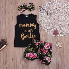 Infant Baby Girl Clothing Set Printed Three-piece Suit Vest + Shorts + Headwear Newborn Baby Clothes as picture 110/2-3t