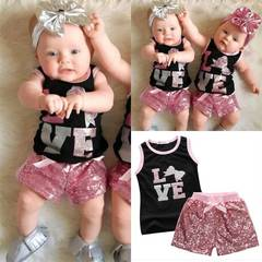 Infant Baby Girl Clothing Set Toddler Outfit Summer Kids Suit T-shirt+Pink Pants as picture 80/1-2y