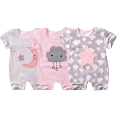 Baby Short Sleeve Cotton Jumpsuit Cute Star Cloud Moon Printed Rompers Newborn Boy Girl Clothes star 66