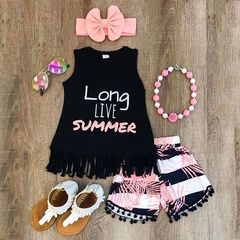 2019 Toddler Kids Girl Clothes Baby Tank T-Shirt+Shorts Pants+Headband 3PCS Outfit as picture 90