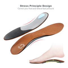 Leather Orthopedic Insoles Massage High Arch Supports Flat Foot Orthotic Insole Shoes Pad Soles as picture EU41-42