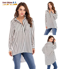 2019 new European and American lapel stripe pocket long-sleeve T-shirt top for women Black and white case m