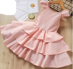 Summer New Fashion Baby Dresses Girls Skirts Girls Wears Clothes Cotton pink 90