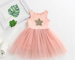 Baby Sleeveless Dresses Girls Star Sequin Skirts Girls Wears  Summer Clothes pink 90