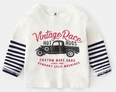 Baby boys clothing Long Sleeve White T-shirts white 90 cotton