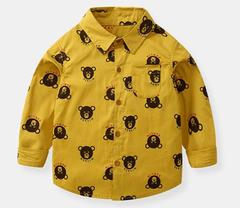 Baby Boys Clothing Long Sleeve Cartoon Bear Cotton Shirts yellow 90 cotton