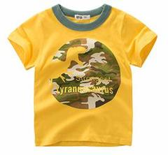 Summer New Fashion Kids T-shirt Boys Dinosaur Pattern T-shirt yellow 90 cotton