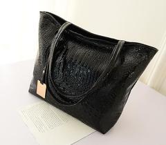 Women Crocodile PU Handbag New Fashion Tote Handbags 3 Colors black one size