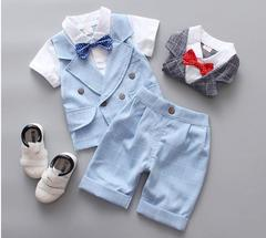 Kids Clothes Boys Suit Gentleman Style 2 Colors Shirt+Pants BLUE 100