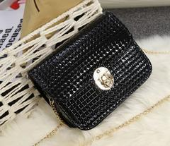 2019 New Fashion Women PU Shoulder Chain Bags 4 Colors black one size