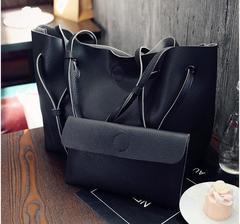 2019 New Fashion Women PU Shoulder Bags 2 pcs Women Handbags black one size