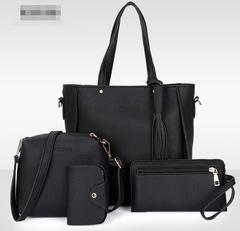 New Fashion Women Bucket Tassel Bags 4pcs Women Shoulder Bags Handbags 4 Colors black one size