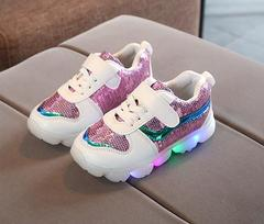 Spring and Autumn New Children's Shoes LED Light Boys and Girls Shoes pink 21
