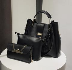 New Fashion Women PU Shoulder Bags Women Tassel Handbags 3pcs black one size