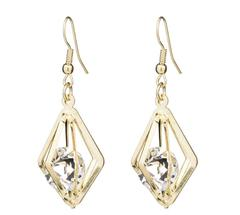 New Fashion Ladies Crystal Earring Women Jewelry gold one size