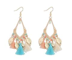 New Fashion Women Tassel Earring Leaves Jewelry Ladies Jewelry 3 Colors colorful one size