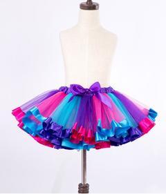 Summer New Fashion Kids Skirts Baby Girls TuTu Colorful Skirts purple S