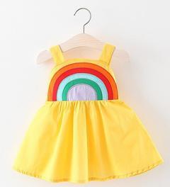 Summer Baby Girls Dresses Birthday Skirt with rainbow yellow 73