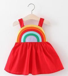 Summer Baby Girls Dresses Birthday Skirt with rainbow red 90