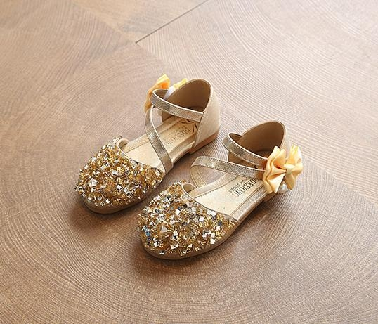 Baby Girls Princess Shoes Dress Shoes PU Leather gold 32