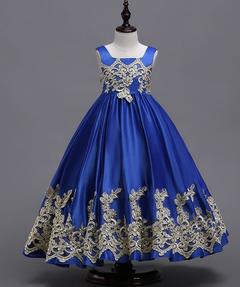 Baby Girls Princess Dresses Flower Girl Birthday Skirt 3 Colors blue 120