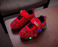 Baby Boys and girls LED Shoes  Spiderman Shoes Spring and Autumn Shoes Sports Shoes red 21