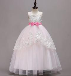 Baby Girls Butterfly Dress Princess Party Dress Birthday Skirt Long Dress pink 120