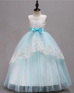 Baby Girls Butterfly Dress Princess Party Dress Birthday Skirt Long Dress blue 160