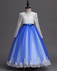 Girls Wedding Dresses Party Dresses Birthday Dress Long Skirts blue 110