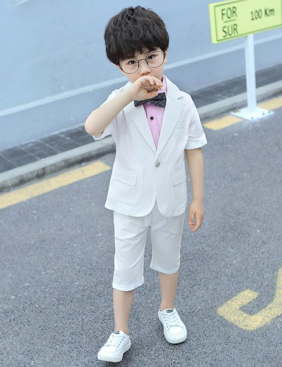 3 Pcs/Set Baby Boys Suits Boys Dress Costumes Party Dress T-shirt+Suit+Pants  3 Colors white 160