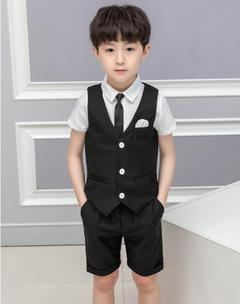 4 Pcs/Set Baby Boys Summer Suit Party Dress Boys Suits Shirt+Suit+Pants+Tie black 100