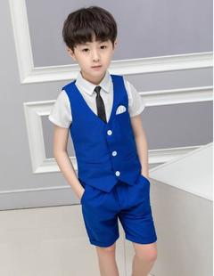 4 Pcs/Set Baby Boys Summer Suit Party Dress Boys Suits Shirt+Suit+Pants+Tie blue 150