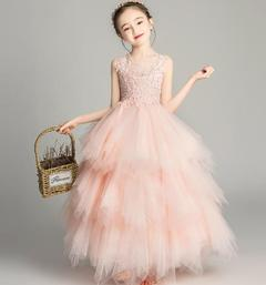 Baby Girls Princess Dresses Flower Girl Birthday Skirt 3 Colors pink 100