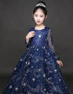 Baby Girls Party Dress Birthday Dress Princess Dress Star Skrit blue 160