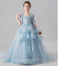 Baby Girls Princess Dresses Party Dresses Birthday Long Dresses blue 100
