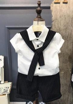 Boys One Set Suits Shirt+Pants+Tie 3PCS white 80