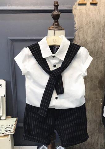 Boys One Set Suits Shirt+Pants+Tie 3PCS white 80
