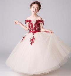 Girls Princess Dress Party Dress Wedding Dress Birthday Skirts wine red 100