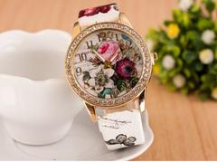 Women Fashion Diamond Watches Flower Rose Watches 3 Colors white one size