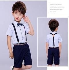 Boys One Set Suits Preformance Suits Shir+Pants+Tie+Belt 4Pcs blue 100