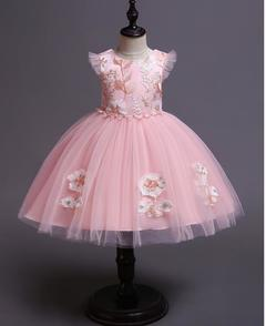 Girls Princess Dress Party Clothes Flower Skirt Birthday Dresses 2 Colors pink 110
