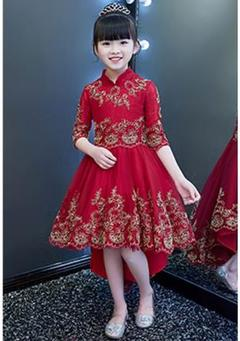 Girls Party Dress Chinese Style Dress Princess Flower Dress Summer Clothes red 100