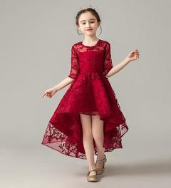 Girls Princess Flower Dress Summer Clothes Party Dress Birthday Skirt red 100