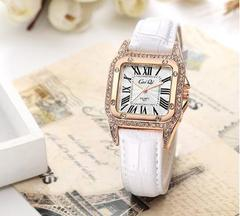 New Fashion Lady's Quartz Watches Rhinestone Leather Watch 4 Colors white one size