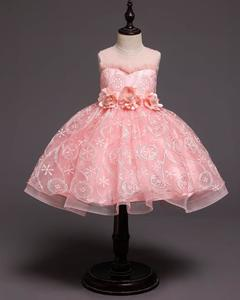 Girls Princess Flower Dresses Party Skirts Birthday Dresses Wedding Dress pink 110