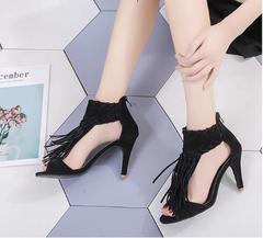 Lady's New Fashion Tassel High Heel Sandals black 35