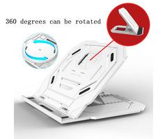 Aluminum Laptop Stand  Heights Adjustable Rotating base Cooling Pad Desktop Tablets Holder White One size
