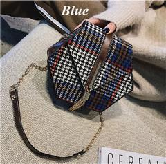 2019 new women's accessories bag hexagonal tassel handbag plaid shoulder diagonal blue brown khaki blue one size