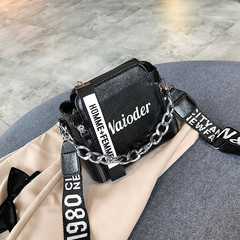 Women's bag 2019 new bright bucket small wild wide shoulder strap diagonal cross crack chain handbag black one size