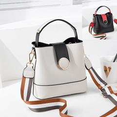 2019 Women's Shoulder Bag New Contrast Bucket Crossbody Ladies Shoulder Bag Fashion Tote white one size